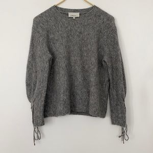 3:1 Phillip Lim Textured Lace-Up Pullover Sweater